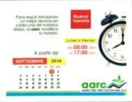 Nuevo Horario Oficinas AARC a partir del 1ero de Septiembre Lunes a Viernes de 8:00am a 5:00pm Sábados Cerrado