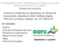 Sinaloa nos necesita es tiempo de ayudar Centro de Acopio AARC