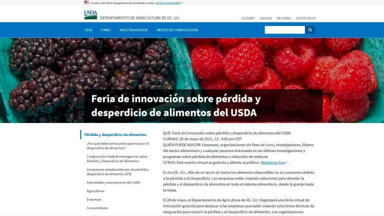 Presenta USDA feria virtual de innovación sobre pérdida y desperdicios de alimentos